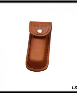 Old Timer LS2 Large Size Brown Leather Belt Sheath with Button Clasp and Hard Exterior for Outdoor, Hunting, Camping and EDC