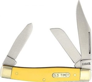 Old Timer 8OTY Senior 6.9in S.S. Traditional Folding Knife with 3in Clip Point Blade and Yellow Handle