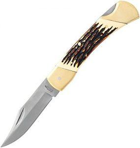"Uncle Henry Papa Bear Lockback Folding 3.67"" Satin Clip Point Blade, Staglon Handles, Leather Sheath"