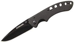 Schrade SCH107ALBK High Carbon Stainless Steel Folding Knife with 2.5in Drop Point Blade and Aluminum Handle
