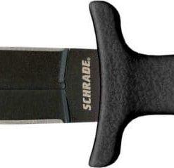 "Schrade SCHF19L Large Tactical Boot Knife 4.8"" Black Double Edge Dagger Blade, TPE Handles"